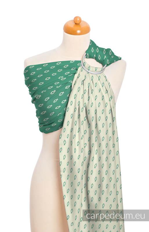 Żakardowa chusta kółkowa do noszenia dzieci, bawełna, ramię bez zakładek - ICHTYS - ZIELONY #babywearing