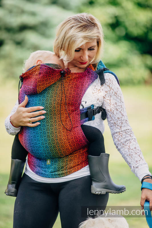 Ergonomic Carrier, Toddler Size, jacquard weave 100% cotton - BIG LOVE RAINBOW DARK, Second Generation #babywearing