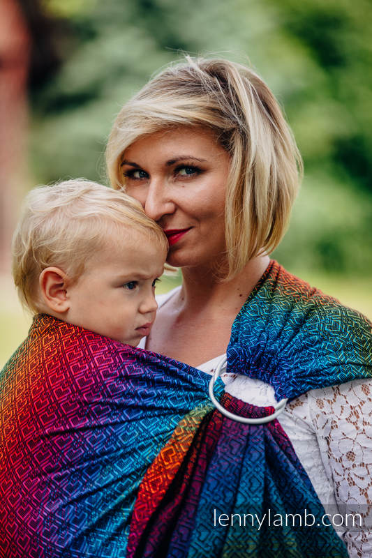 Bandolera de anillas, tejido Jacquard (100% algodón) - BIG LOVE RAINBOW DARK - standard 1.8m #babywearing