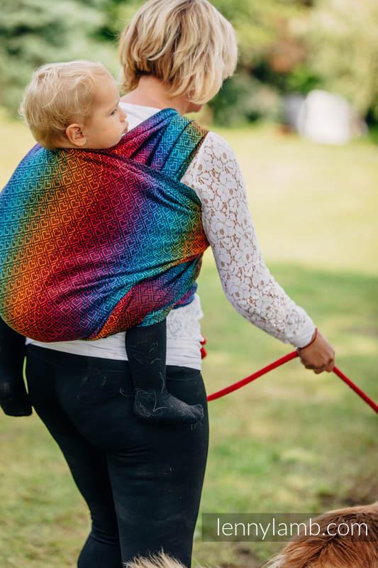 Baby Wrap, Jacquard Weave (100% cotton) - BIG LOVE RAINBOW DARK - size L #babywearing