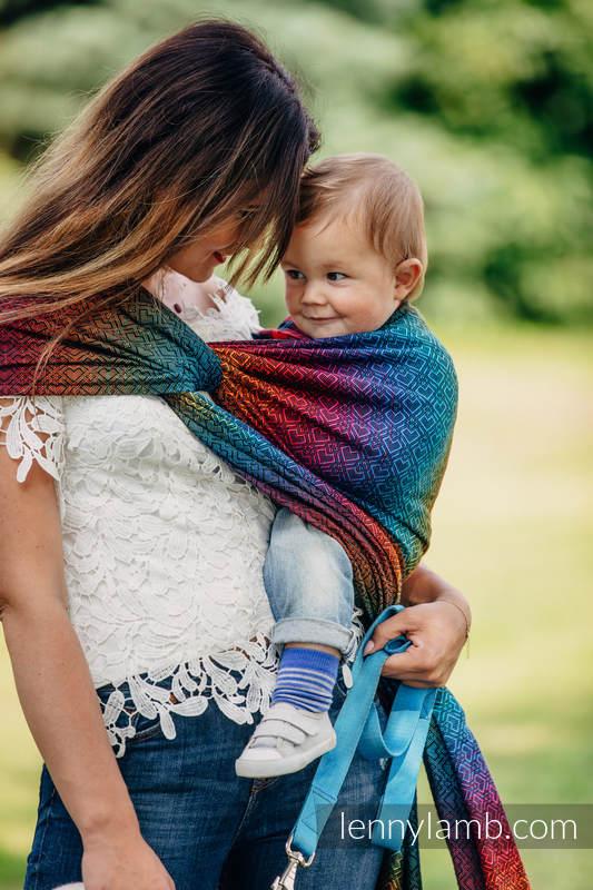 Baby Wrap, Jacquard Weave (100% cotton) - BIG LOVE RAINBOW DARK - size XL #babywearing