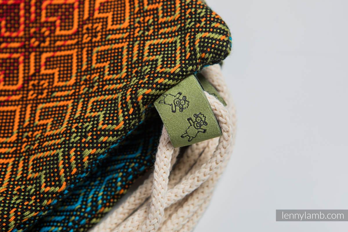 Mochila portaobjetos hecha de tejido de fular (100% algodón) - BIG LOVE RAINBOW DARK - talla estándar 32cmx43cm #babywearing