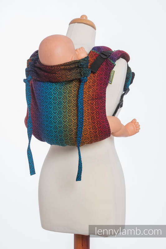 Lenny Buckle Onbuhimo baby carrier, toddler size, jacquard weave (100% cotton) - BIG LOVE RAINBOW DARK #babywearing