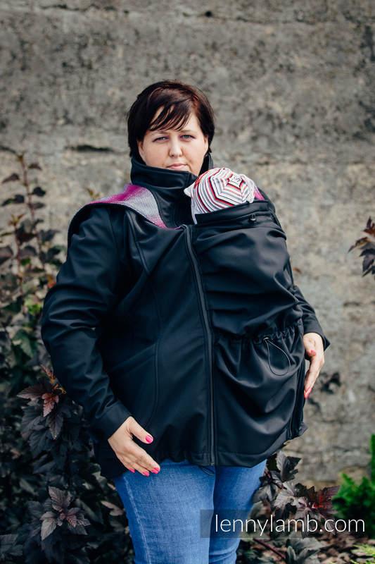 Manteau de portage - Softshell - Noir avec Little Herringbone Inspiration -  taille 6XL  babywearing 0404198481e