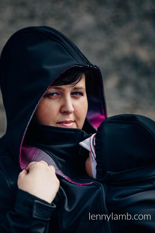Babywearing Coat - Softshell - Black with Little Herringbone Inspiration - size 4XL #babywearing