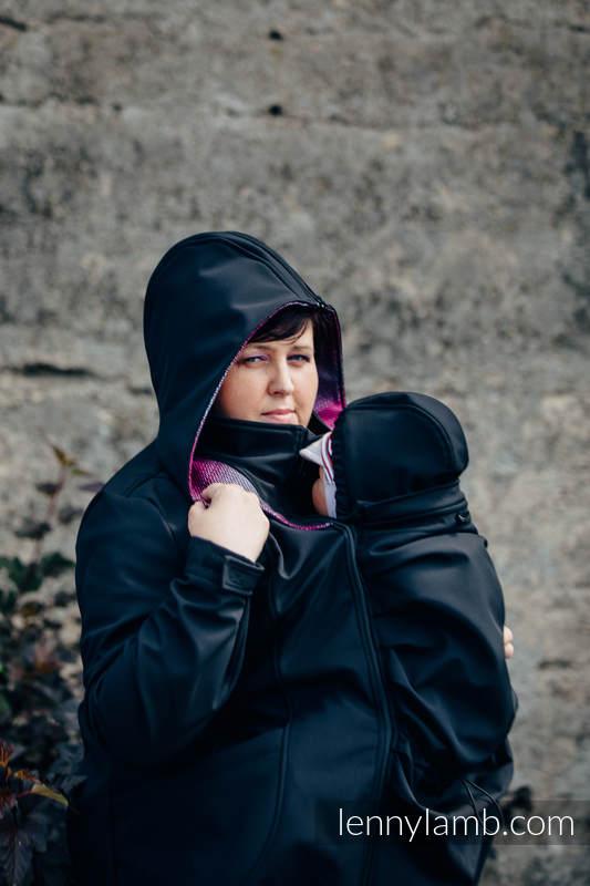 Babywearing Coat - Softshell - Black with Little Herringbone Inspiration - size 3XL #babywearing