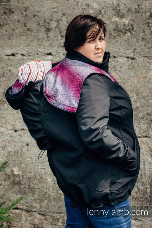 Manteau de portage - Softshell - Noir avec Little Herringbone Inspiration -  taille 5XL  babywearing 0e3113c8887