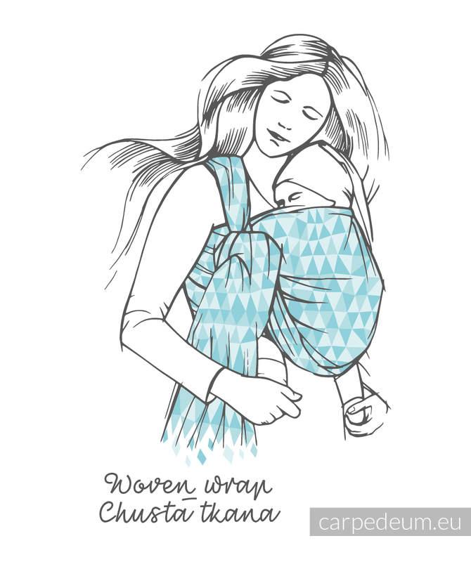 Żakardowa chusta do noszenia dzieci, 100% bawełna - ICHTYS - NIEBIESKI - rozmiar M #babywearing