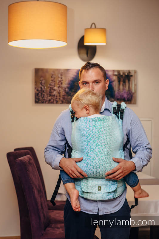 LennyUp Carrier, Standard Size, jacquard weave 100% cotton - BIG LOVE ICE MINT #babywearing