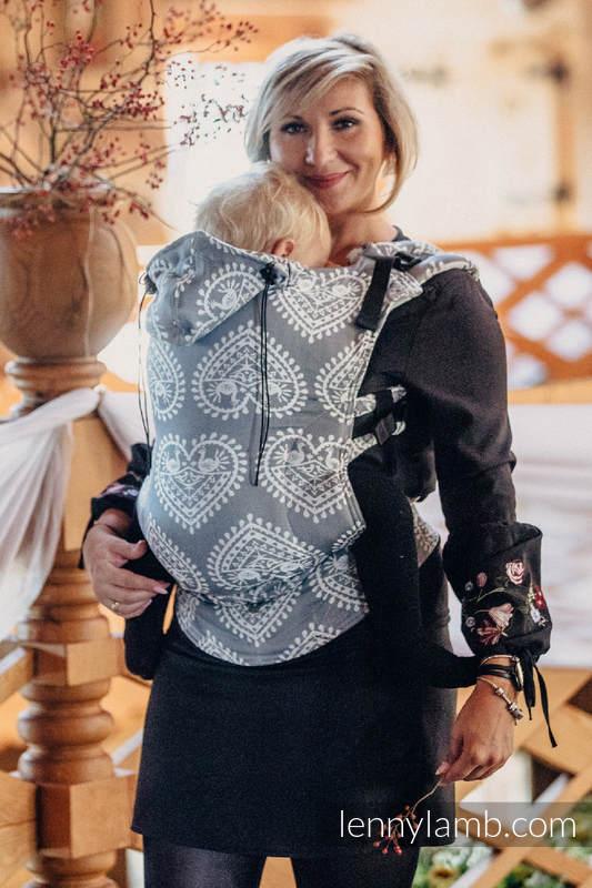 Nosidełko Ergonomiczne z tkaniny żakardowej 100% bawełna , Baby Size, FOLKOWE SERCA - Druga Generacja #babywearing