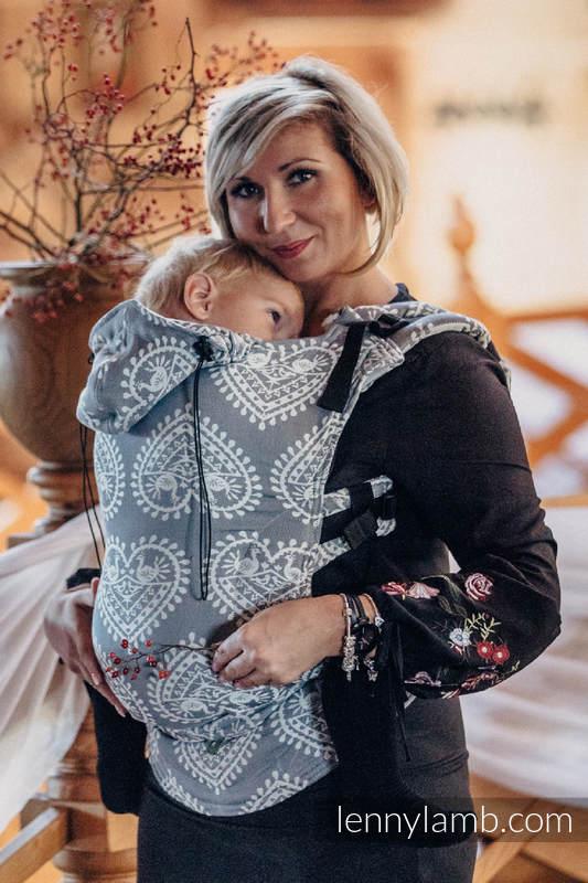 Nosidełko Ergonomiczne z tkaniny żakardowej 100% bawełna , Toddler Size, FOLKOWE SERCA - Druga Generacja #babywearing
