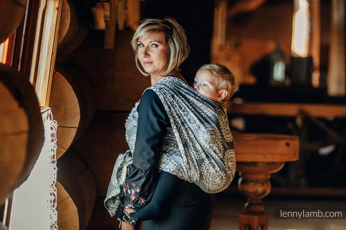 Żakardowa chusta do noszenia dzieci, bawełna - FOLKOWE SERCA - rozmiar XS #babywearing