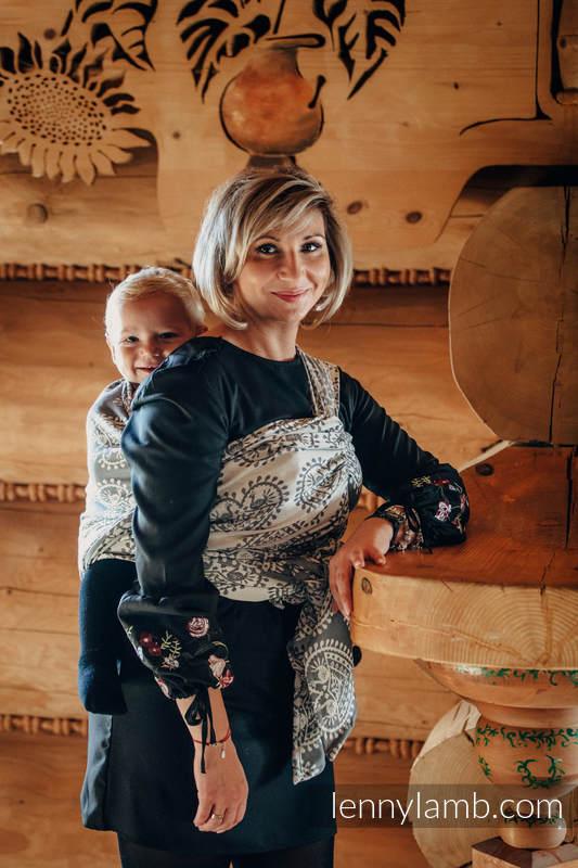 Żakardowa chusta do noszenia dzieci, bawełna - FOLKOWE SERCA - rozmiar XL #babywearing