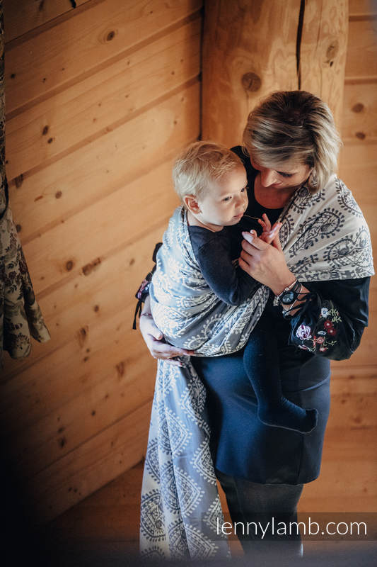 Żakardowa chusta do noszenia dzieci, bawełna - FOLKOWE SERCA - rozmiar S #babywearing