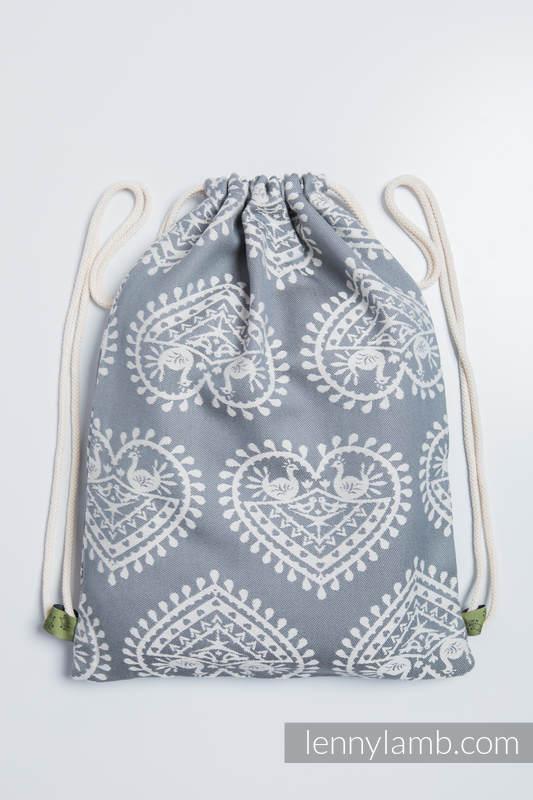 Turnbeutel, hergestellt vom gewebten Stoff (100% Baumwolle) - FOLK HEARTS - Standard Größe 32cmx43cm #babywearing