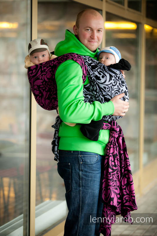 Baby Wrap, Jacquard Weave (100% cotton) - Twisted Leaves Black & White- size L #babywearing