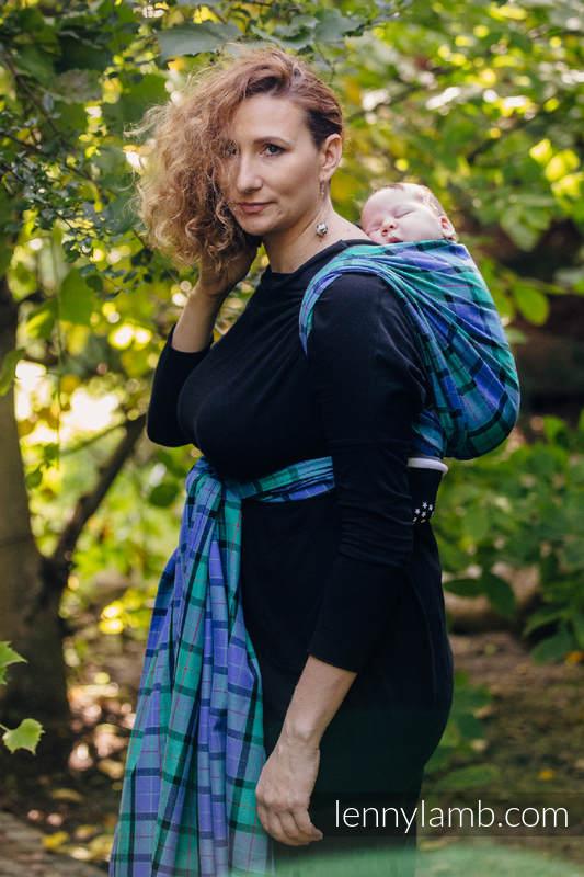 Chusta do noszenia dzieci, tkana splotem skośnym (100% bawełna) - SIELSKA KRATA - rozmiar XL #babywearing