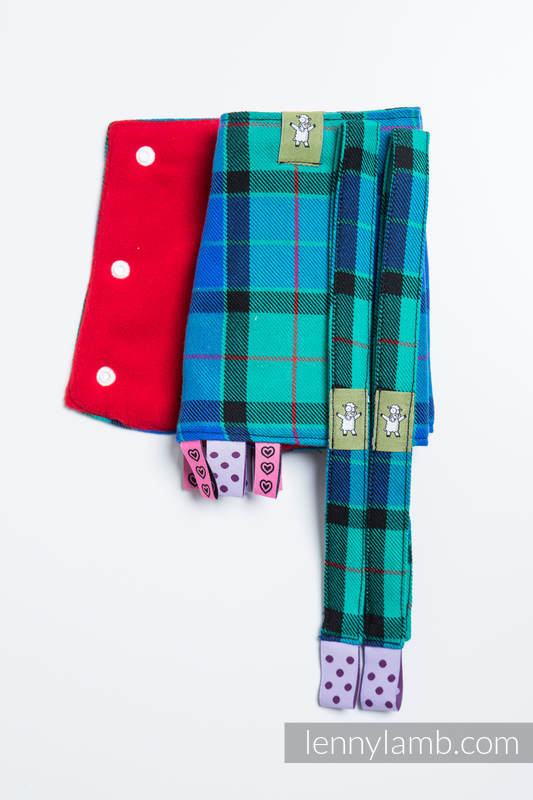 Drool Pads & Reach Straps Set, (100% cotton) - COUNTRYSIDE PLAID #babywearing