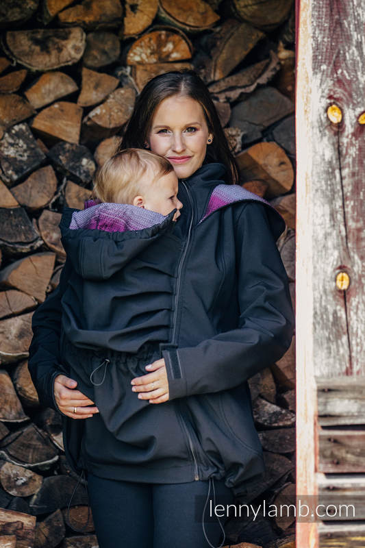 Babywearing Coat - Softshell - Black with Little Herringbone Inspiration - size XL #babywearing