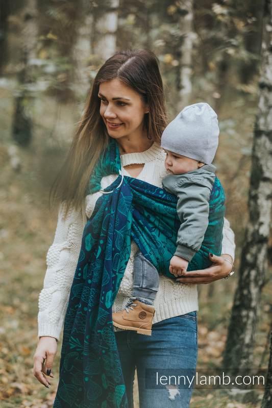 RingSling, Jacquardwebung (100% Baumwolle) - UNDER THE LEAVES - long 2.1m #babywearing