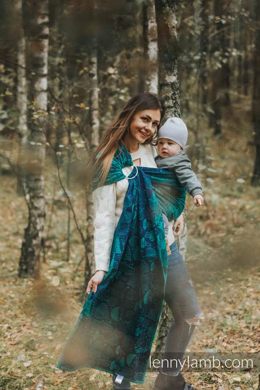 Ringsling, Jacquard Weave (100% cotton) - with gathered shoulder - UNDER THE LEAVES - long 2.1m #babywearing