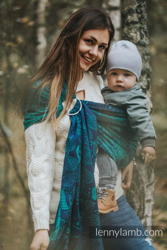 Bandolera de anillas, tejido Jacquard (100% algodón) - UNDER THE LEAVES - standard 1.8m #babywearing
