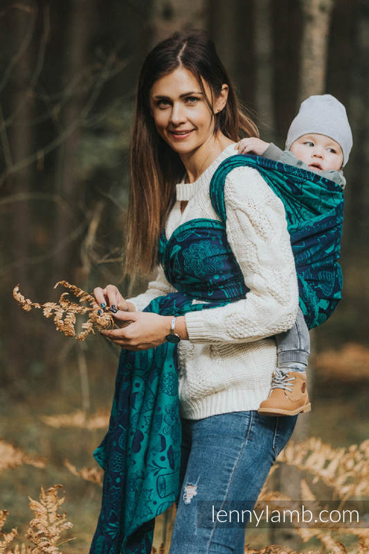 Baby Wrap, Jacquard Weave (100% cotton) - UNDER THE LEAVES - size XS #babywearing