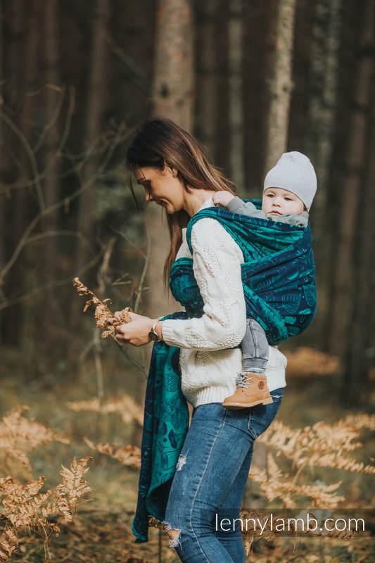 Żakardowa chusta do noszenia dzieci, bawełna - POD LIŚCIEM - rozmiar S #babywearing