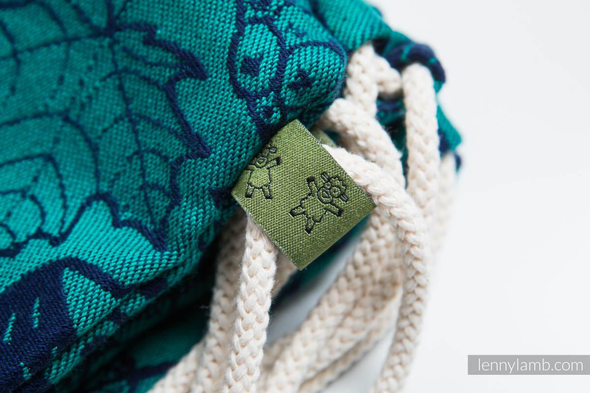 Mochila portaobjetos hecha de tejido de fular (100% algodón) - UNDER THE LEAVES - talla estándar 32cmx43cm #babywearing