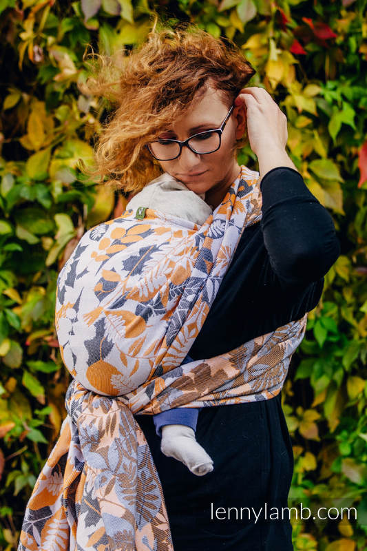 Baby Wrap, Jacquard Weave (100% cotton) - WHIFF OF AUTUMN - size S #babywearing
