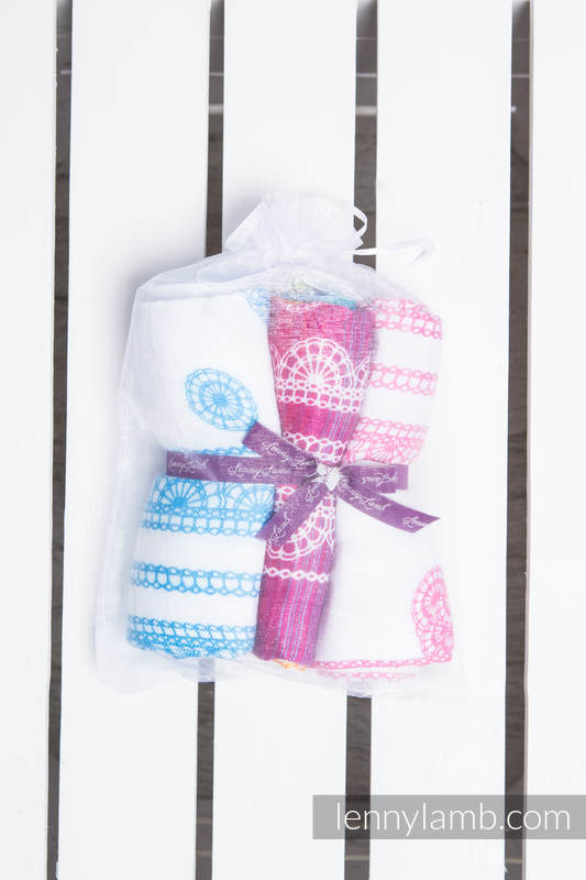 Muslin Square Set - RAINBOW LACE, ICED LACE PINK & WHITE, ICED LACE TURQUOISE & WHITE #babywearing