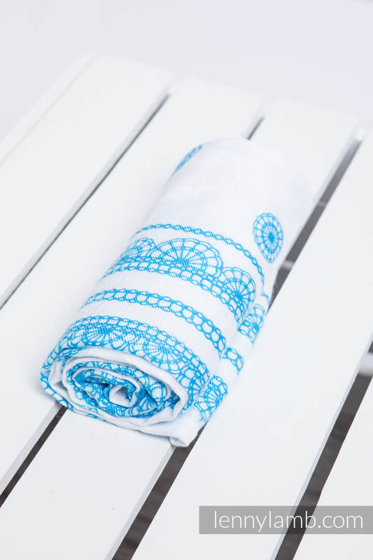 Muslin Square - ICED LACE TURQUOISE & WHITE #babywearing