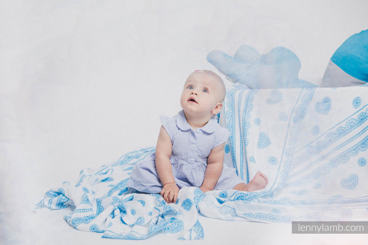 Swaddle Blanket Set - PEACOCK'S TAIL FANTASY, ICED LACE TURQUOISE&WHITE #babywearing