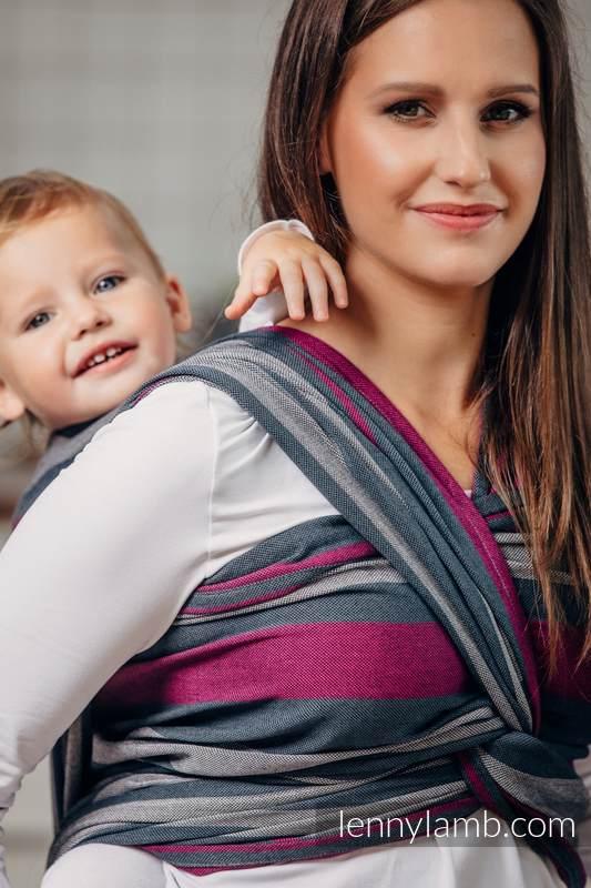 Chusta do noszenia dzieci, tkana splotem skośno-krzyżowym (100% bawełna) - SMOKY - FUKSJA - rozmiar L (drugi gatunek) #babywearing