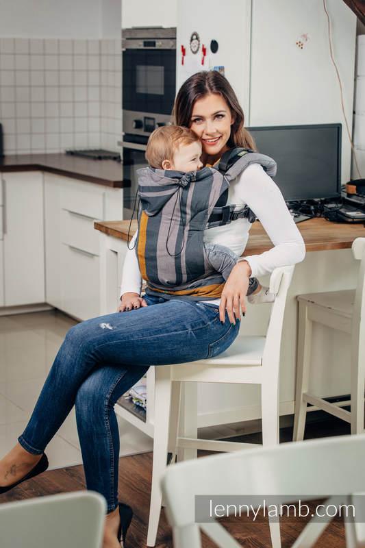 Nosidełko Ergonomiczne z tkaniny skośnokrzyżowej 100% bawełna , Baby Size, SMOKY - MIÓD - Druga Generacja. #babywearing