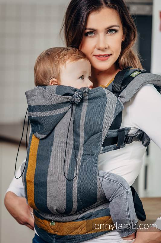 Ergonomic Carrier, Toddler Size, broken-twill weave 100% cotton - wrap conversion from SMOKY - HONEY - Second Generation. #babywearing