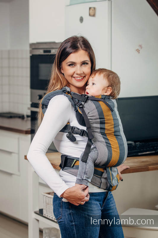 Nosidełko LennyUp z tkaniny skośnokrzyżowej  100% bawełna , rozmiar standard, SMOKY - MIÓD  #babywearing