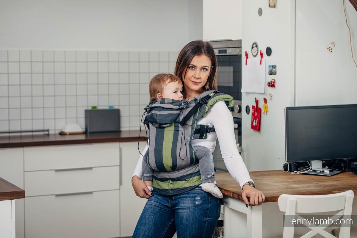 Ergonomische Tragehilfe, Gr. Baby, Kreuzköper-Bindung, 100% Baumwolle - SMOKY - LIME - zweite Generation #babywearing