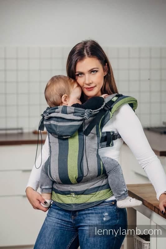 Nosidełko Ergonomiczne z tkaniny skośnokrzyżowej 100% bawełna , Baby Size, SMOKY - LIMONKA - Druga Generacja. #babywearing