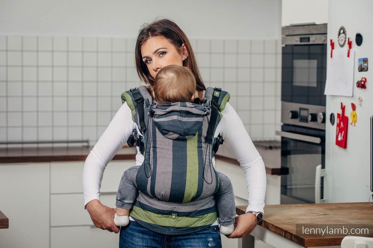 Nosidełko Ergonomiczne z tkaniny skośnokrzyżowej 100% bawełna , Toddler Size, SMOKY - LIMONKA - Druga Generacja. #babywearing