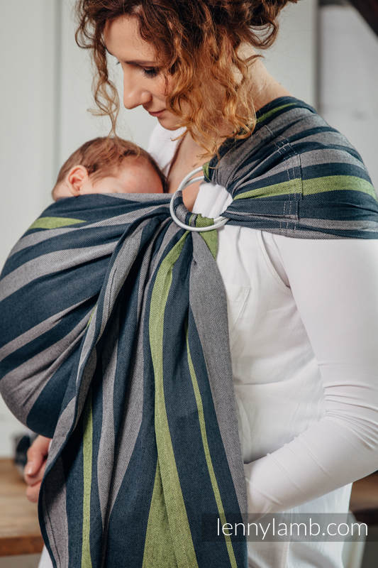 Ringsling, Broken twill Weave (100% cotton), with gathered shoulder - SMOKY - LIME - standard 1.8m #babywearing