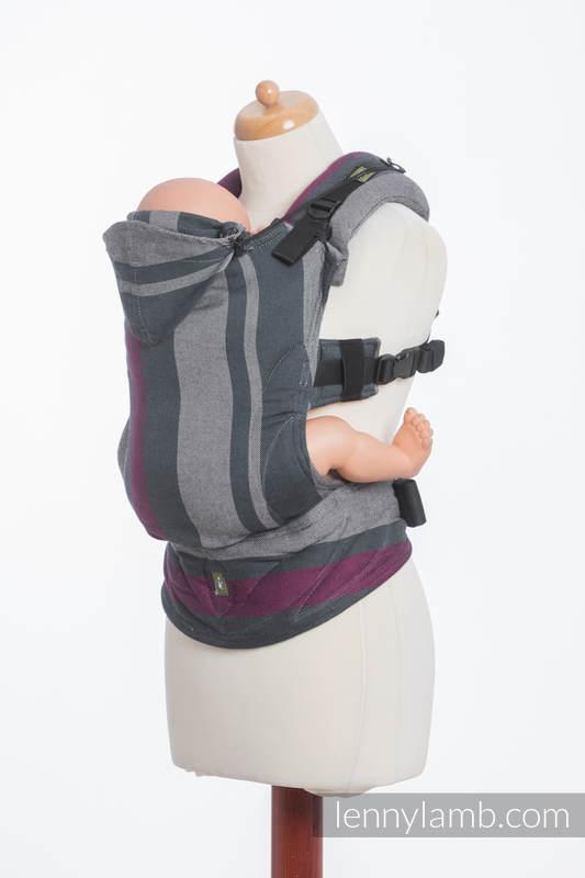 Nosidełko Ergonomiczne z tkaniny skośnokrzyżowej 100% bawełna , Baby Size, SMOKY - FUKSJA - Druga Generacja. #babywearing