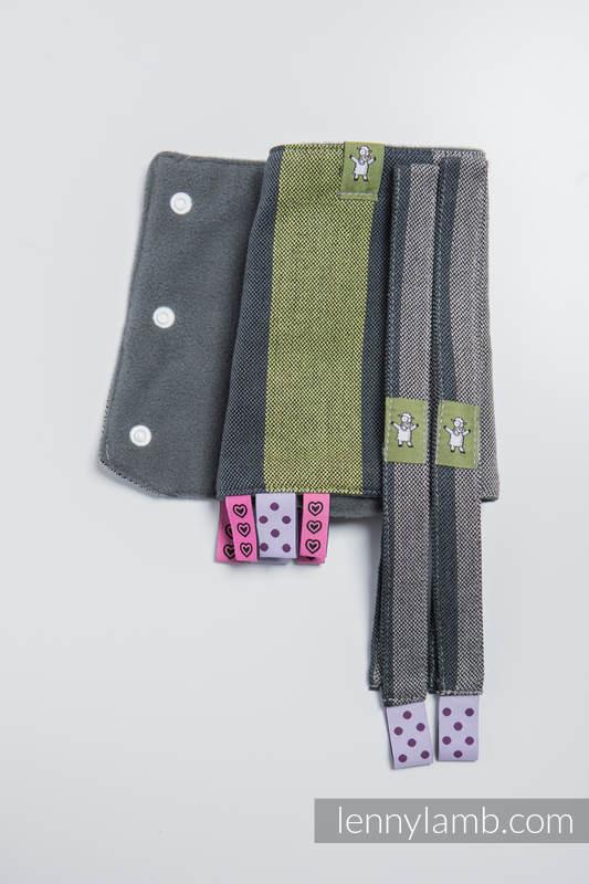 Set de protege tirantes y tiras de alcance (60% algodón, 40% Poliéster) - SMOKY - LIME  #babywearing