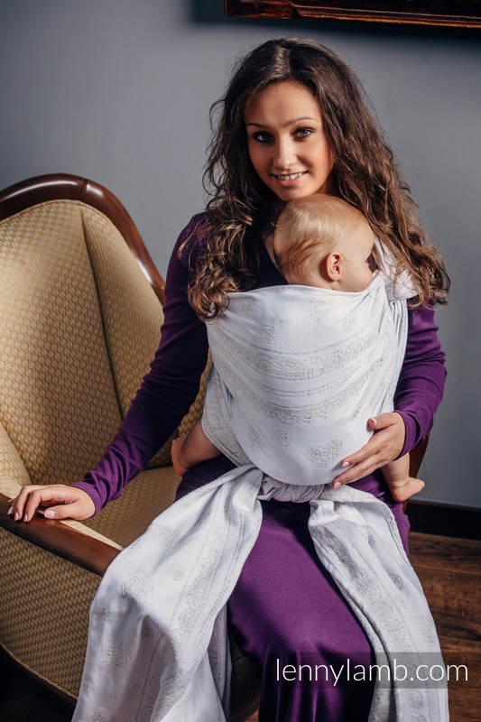 Baby Wrap, Jacquard Weave (80% cotton, 17% merino wool, 2% silk, 1% cashmere) - VINTAGE LACE - size XL #babywearing