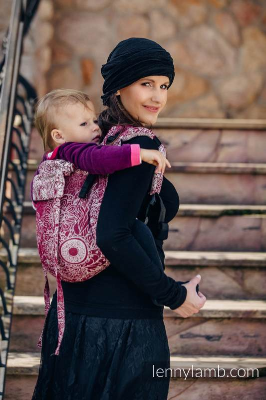 Lenny Buckle Onbuhimo baby carrier, toddler size, jacquard weave (100% cotton) - WILD WINE  #babywearing