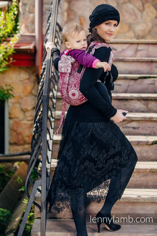 Lenny Buckle Onbuhimo baby carrier, standard size, jacquard weave (100% cotton) - WILD WINE  #babywearing