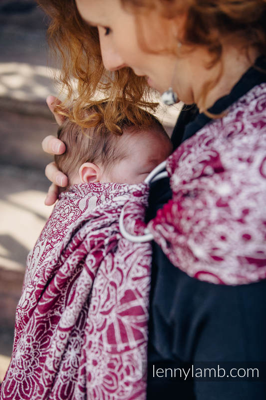 Ringsling, Jacquard Weave (100% cotton) - with gathered shoulder - WILD WINE  - long 2.1m #babywearing