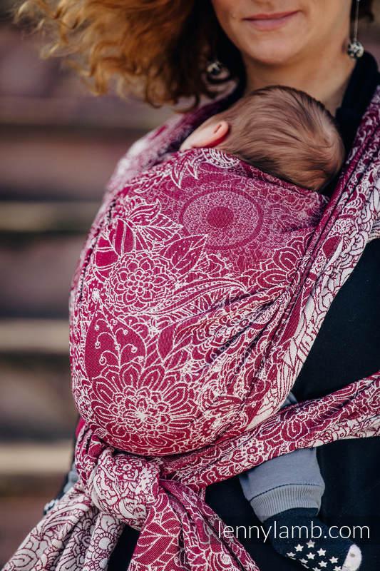 Baby Wrap, Jacquard Weave (100% cotton) - WILD WINE - size M (grade B) #babywearing
