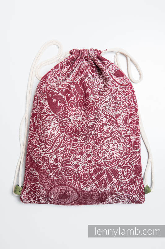Sackpack made of wrap fabric (100% cotton) - WILD WINE - standard size 32cmx43cm #babywearing
