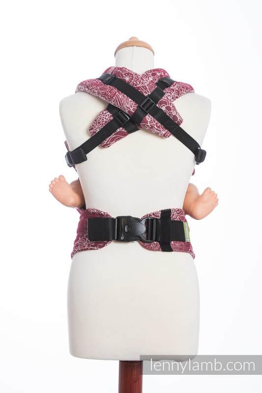 Ergonomische Tragehilfe, Größe Baby, Jacquardwebung, 100% Baumwolle - WILD WINE - Zweite Generation #babywearing